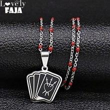 2021 de moda de esmalte negro de acero inoxidable de la brujería Triple Luna jugando a las cartas collares de mujer, joyería cadenas mujer N19867
