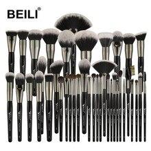 BEILI, 40 шт., роскошный черный Профессиональный набор кистей для макияжа, Большие кисти, пудра, основа для смешивания, козья шерсть, кисти для макияжа