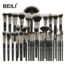 BEILI 40 pieces Luxury black professional makeup brush set Big brushes Powder foundation blending goat hair makeup brushes-in Eye Shadow Applicator from Beauty & Health on AliExpress
