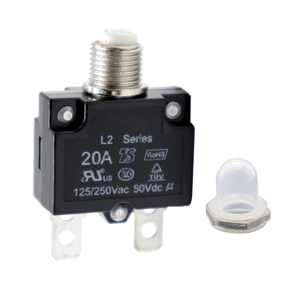20 Amp Circuit Breaker Push-Button Reset With Quick Connect Terminals And Clear Waterproof Button Cover
