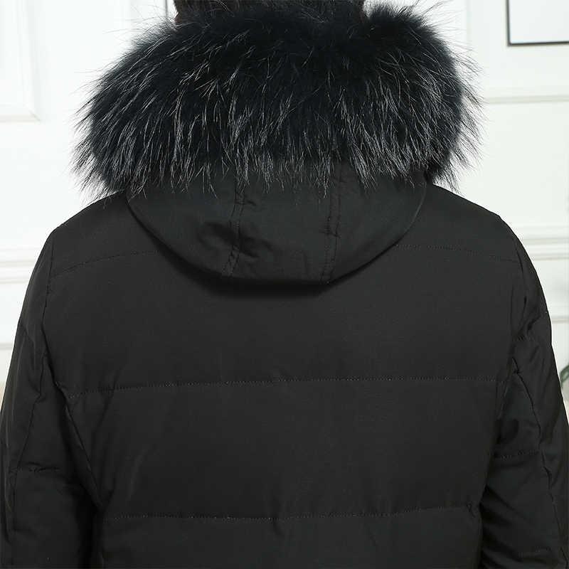 Winter Down Jas Mannelijke Dikke Warme Donsjack Mannen Grote Bont Kapmantel Winter 90% Witte Eendendons Jassen Uitloper 19-1