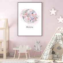 Cartoon Moon Posters And Prints Flower Print Painting Quotes Canvas Posters Pink Wall Pictures For Baby Girl  Bedroom Home Decor майка борцовка print bar girl and moon