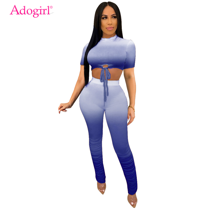Adogirl Changing Color Women Casual Two Piece Set Short Sleeve T Shirt Crop Top Ruched Flare Pants Fashion Summer Suits