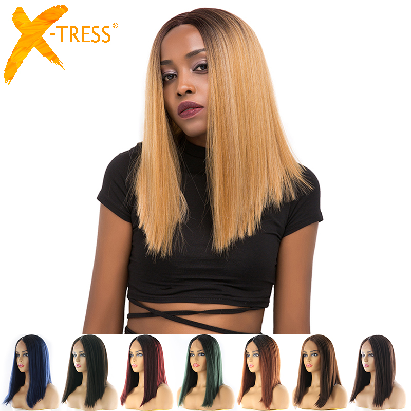 Short Bob Lace Front Synthetic Hair Wigs Ombre Black Blonde Red Color X-TRESS Yaki Straight Middle Part Blunt Lace Wig For Women