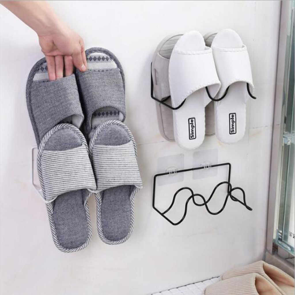 Double-layer Schoenen Holder Wall Mount Slipper Opknoping Plank Organisator Home Hotel Woonkamer Slipper Rack Holder Schoenen Organizer