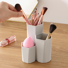 3 Lattices Cosmetic Make-up Brush Storage Box Makeup Nail Polish Cosmetic Holder Make Up Tools Pen Holder Rack Table Organizer 3 size empty portable travel makeup brushes round pen holder cosmetic case pu leather cup brush holder tube storage organizer