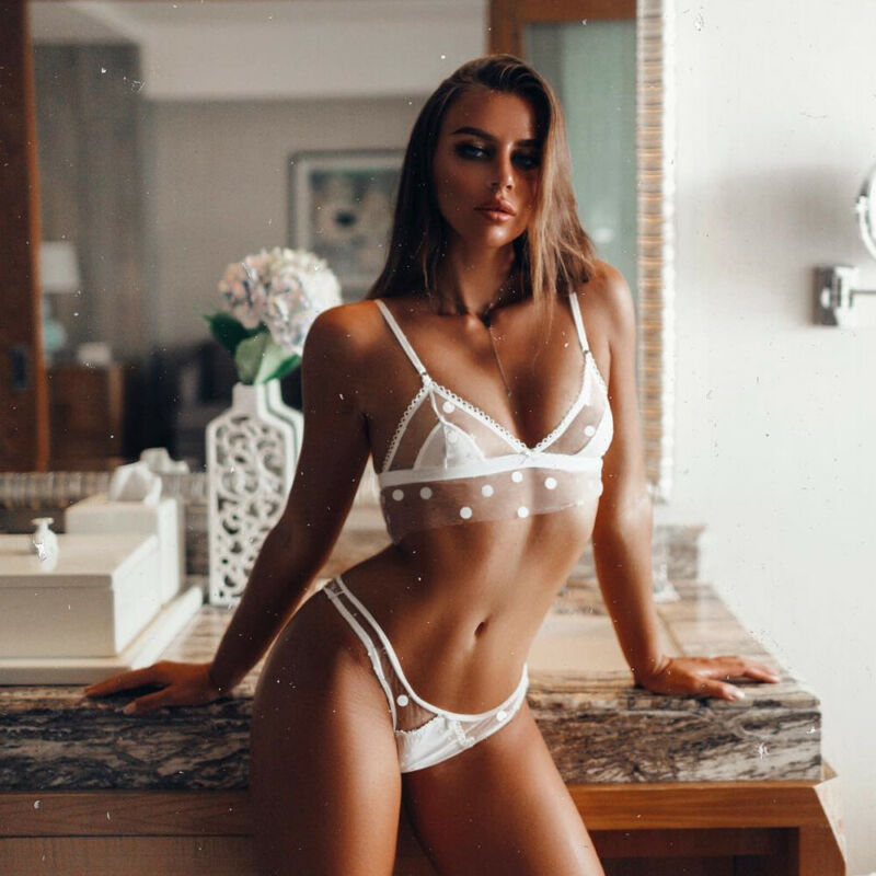 2PCS Womens Sexy-Lingerie Nightwear Clothes Babydoll G-string Underwear Lace Bra Set Sexy See-through Mesh Suit Bikini Cover Up
