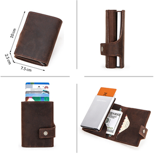 Image 4 - Contacts 2020 Business Credit Card Case for Men Card Holder Aluminium Box Crazy Horse Cow Leather Vintage Card Wallet RFID