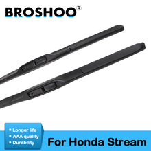 BROSHOO Car Clean The Windshield Wiper Blade Natural Rubber For Honda Stream 2000 2001 2002 2003 2004 2005 2006 Fit Hook Arms sliverysea rear wiper blade no arm for honda stream mk 1 2000 2006 12 5 door mpv high quality iso9001 natural rubber b1 30