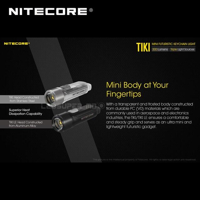 Mini fütüristik NITECORE TIKI/ TIKI LE USB şarj edilebilir ışıklı anahtarlık dahili Li ion pil