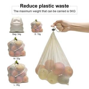 Image 5 - 재사용 쇼핑 가방 100% 코 튼 야채 과일 저장 가방 메쉬 식료품 쇼핑 제품 가방 여성 빨 가방