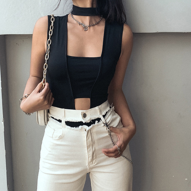 2020 Summer Fashion Women's New Round neck Black Hollowed Out Slim Fit All-match One-piece Jumpsuit Women