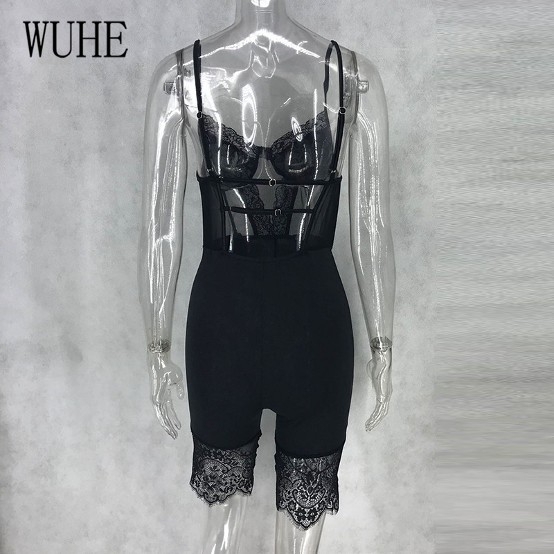H7ab3780271ec401894f5f31c0395e2434 - WUHE Lace Patchwork Sexy Spaghetti Strap Jumpsuits Women Off Shoulder Sleeveless Elegant Bodycon Bandage Party Short Playsuits