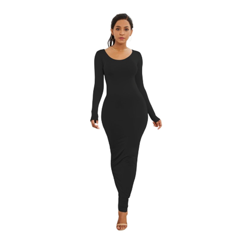 Spring Autumn Women New Long Sleeve Solid Slim Long Dress Simple High Stretchy Bodycon Package Hip Maxi Dress vestido Ropa Mujer