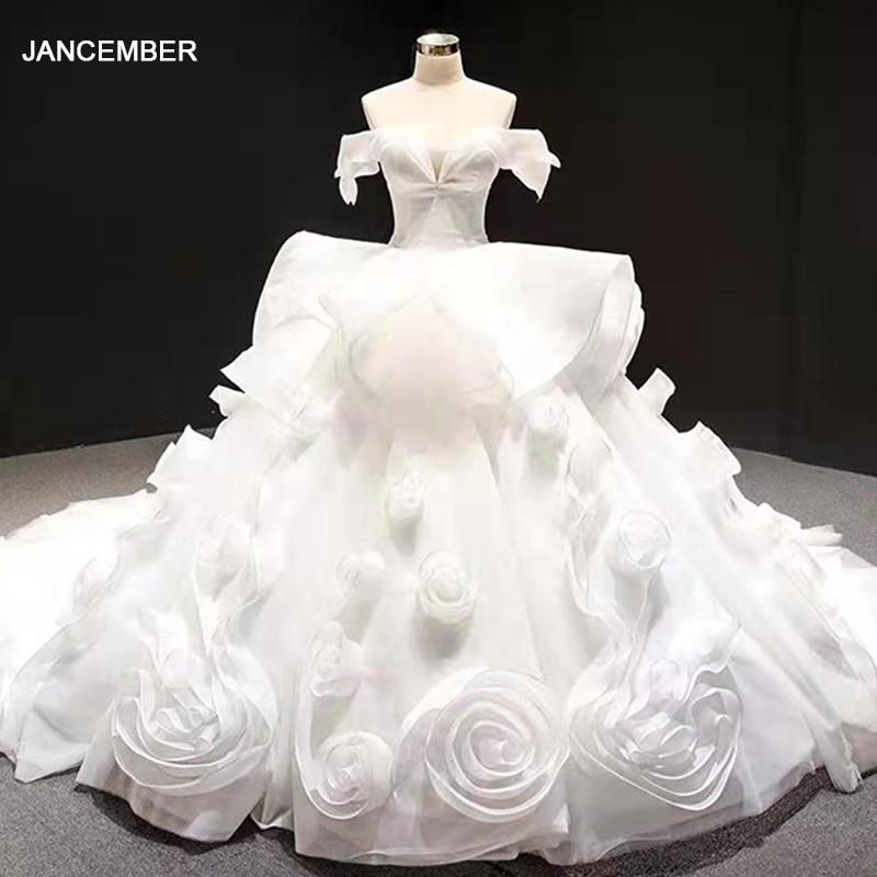 J66956 Jancember White Wedding Dress Women Strapless Lace Up Appliques Flowers Ball Gown  Ball Wedding Gowns платья на свадьбу
