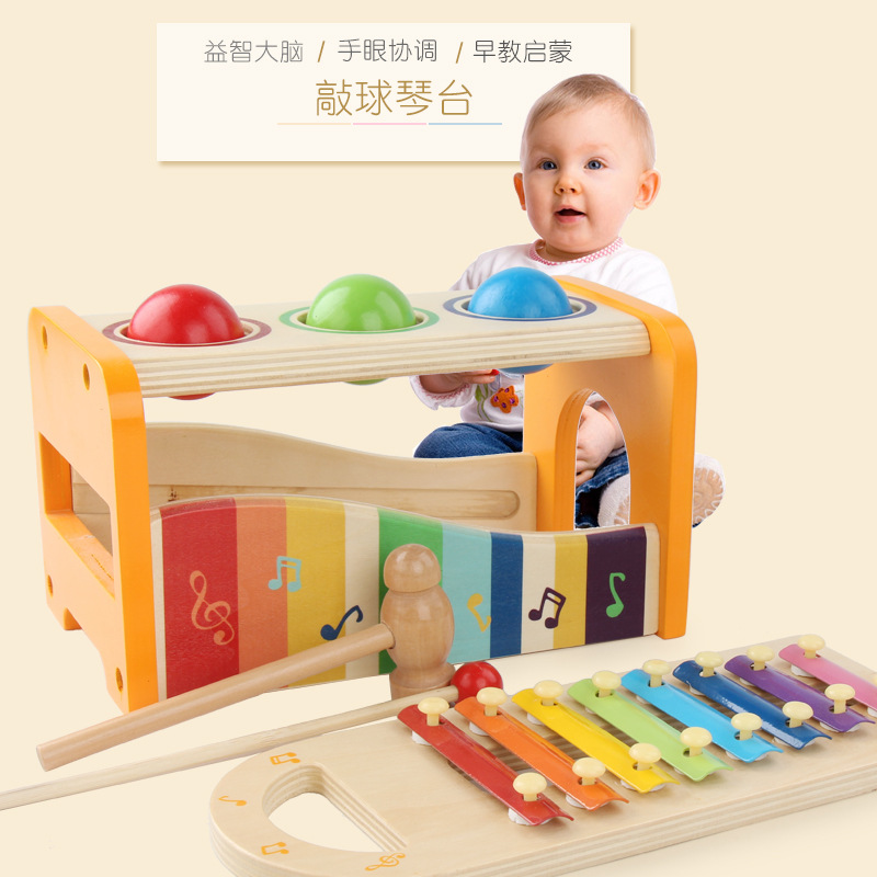 Knock The Ball Paiono Table Children Early Childhood Music Toy Music Box Educational Piling Baby Toys Aged 1-2 Years Beat Toy