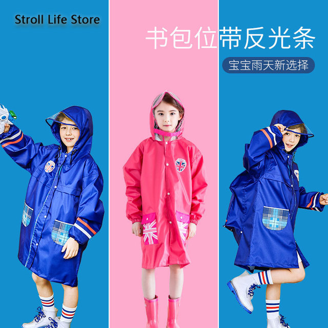 Waterproof Raincoat Kids Cute Red Long Rain Poncho Children Rain Coat Jacket Hiking Thickening Rainwear Capa De Chuva Gift Ideas 3