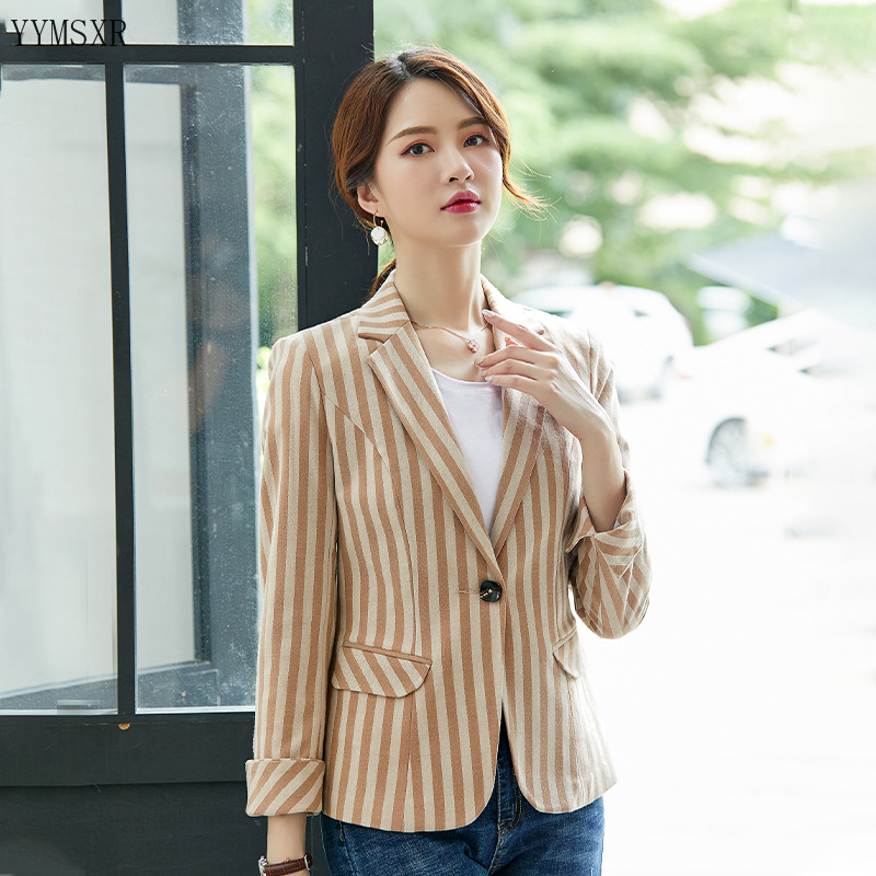 Casual Professional Ladies Jacket Blazer New Fall Slim Ladies Striped Small Suit Office Korean Long Sleeve Short Jacket Coat