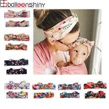 Balleenshiny 2 pçs mãe & criança bandana flores bowknots cabeça acessórios da criança crianças macio elástico headwear família foto adereços