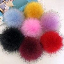 12cm diy pompom de pele de luxo natural raposa hairball chapéu bola pom pom artesanal grande chapéu bola de cabelo com faixa de borracha