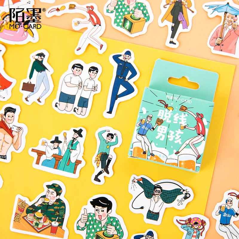 46Pcs/Pack Casual Boy Stickers Funny Boys Diary Life Korean Lovely Sticky DIY Scrapbooking Paper Cartoon Kawai Adhesive Supplies
