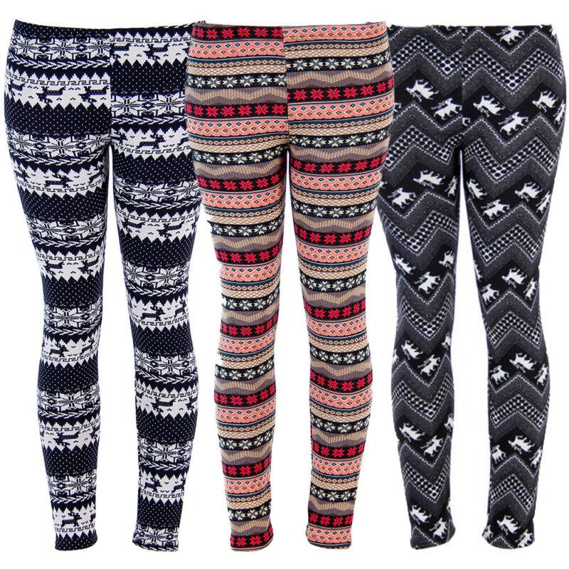 Womens Christmas Deer Print Leggings Ladies Casual Long Pants Xmas Elastic Waist Slim Leggings Winter Warm Clothes