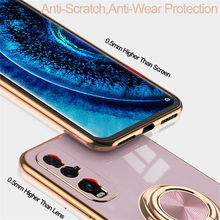 Luxury Plating Soft TPU Casing For OPPO Find X2 Pro Reno 5 4 SE 3 Pro ACE2 Phone Case with Ring Holder Back Covers Funda Coque