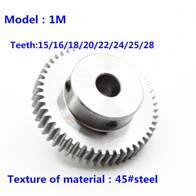 Spur Gear pinion 1M 15T 16 18 20 22 24 28Teeth 1 Mod Right Teeth 45# steel worm gear motor gear rack transmission RC