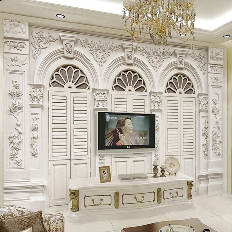 Drop Shipping Custom 3D Photo Wallpaper White Roman Column European Style 3D Embossed Background Wall Mural Art Wall Painting