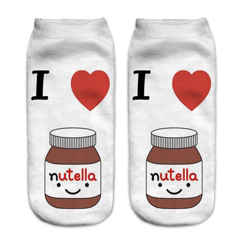 Nutella/2018 носки с рисунками из мультфильмов, белые носки, забавные носки, лидер продаж, женские носки с 3d принтом, Короткие носки в стиле