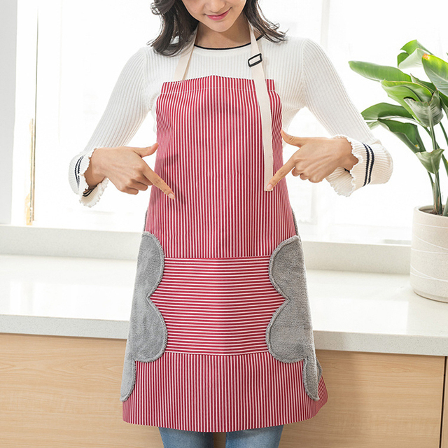 Home Women Men Cooking Kitchen Apron Side Wipes Waterproof Anti Oil Adjustable Buckle Oxford Cloth Big Pocket Apron Kitchen Tool 1