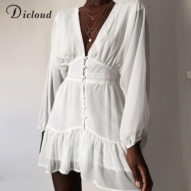 DICLOUD Sexy Plunge V Neck Women's Spring Summer Dress White Lace Long Sleeve Mini Party Dress Ruffle Elegant Clothing 2020(China)