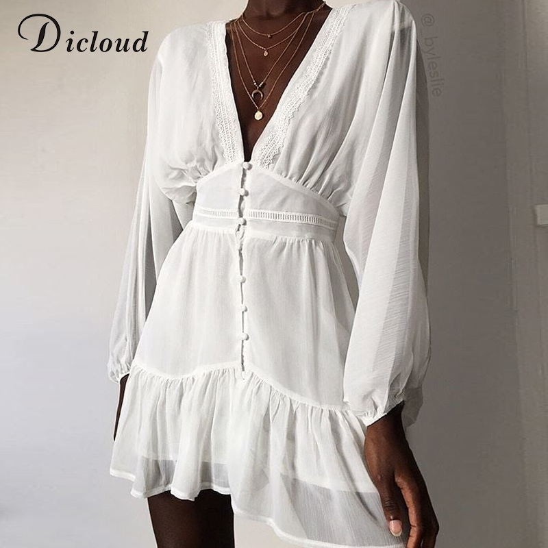 DICLOUD Sexy Plunge V Neck Women's Summer Dress White Lace Long Sleeve Mini Party Dress Autumn Ruffle Elegant Clothes 2020(China)
