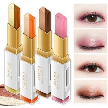 цена на Double Color Eyeshadow Stick Stereo Gradien Shimmer Color Eye Shadow Cream Pen Eye Makeup Palette Cosmetics Smooth Makeup Pencil