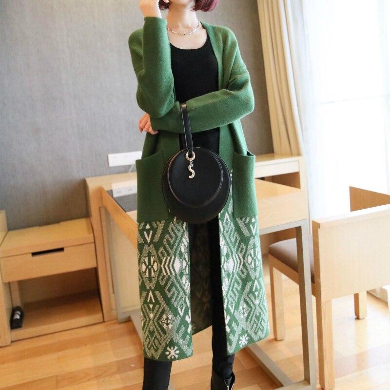 Manteau de chandail tricoté chaud épais surdimensionné de M-XXL pour dames lâche point ouvert imprimer Harajuku doux automne hiver coton manteau femmes