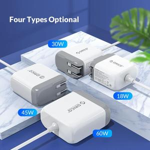 Image 2 - ORICO USB C PD 3.0 Carga Rápida Carregador com Cabo do Tipo C para QC 3.0 Tipo C PD 18W/30W/45W/60W para Notebook Tablet Telefone