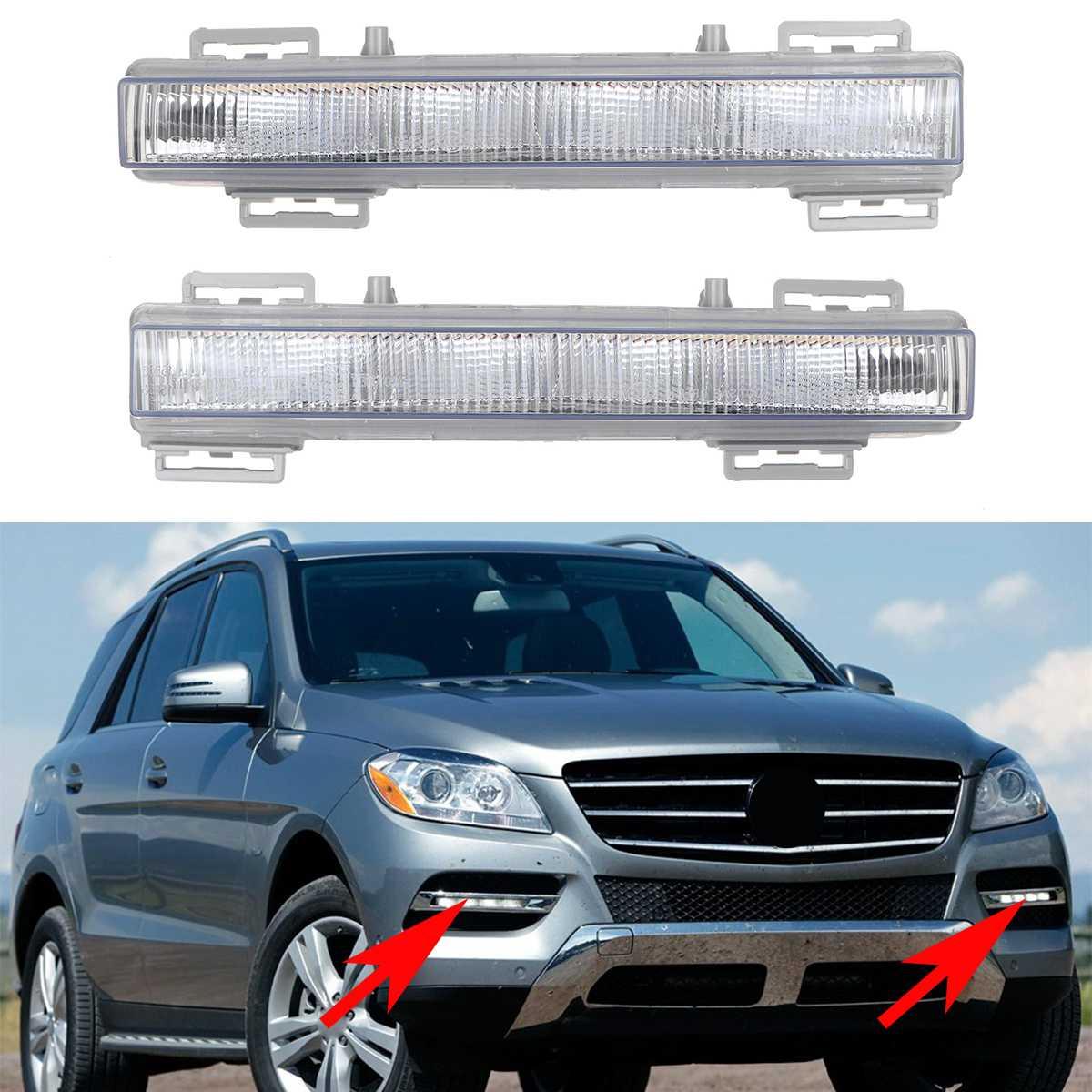 Светодиодные автомобисветодиодный передние дневные ходовые огни DRL, противотуманные фары для Mercedes Benz W166 ML350 ML400 X204 GLK350 2012-2015 2049065501, 2 шт.