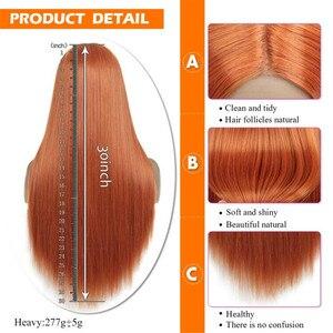 Image 3 - Peruka z długich prostych włosów syntetyczna koronka przodu peruki dla kobiet z środkowej części żaroodporne peruka do cosplay pomarańczowy kolor złoty piękno