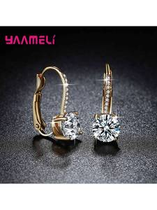 925-Sterling-Silver Earrings Jewelry Crystal Rhinestone Brincos Gold-Color Wholesale