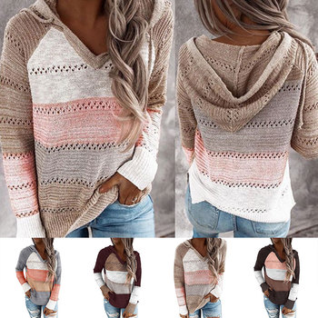 women hooded sweater km083 2020 fashion letter pattern long pullovers female autumn winter sweaters loose knitting tops 2020 fashion Autumn Knitted Hooded Striped Sweaters Top Long Sleeve Women Hollow Out Patchwork Pullovers Female Sweater