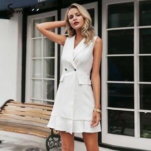 Image 4 - Simplee Ruffled v neck women blazer dress Button sleeveless autumn office ladies dress Casual white female short dress vestidos