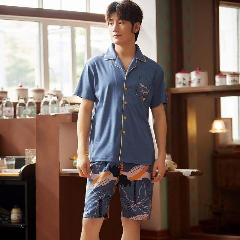 Summer Men Pyjama Set Cotton Men Pajama Suit Short Sleeve Pajama Man Sleepwear Spring Pajama Male Nightgown XXXL Sleepwear