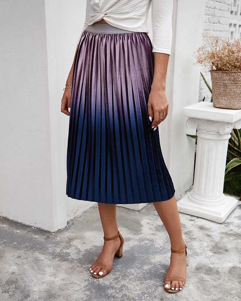 Winter Fashion Female Vintage Aline Pleated Skirt Casual Gold Velvet Gradient Skirts Women High Waist Long Metallic Casual Skirt