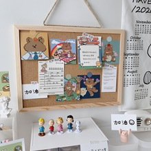 Ins Soft Board Message Board Hanging Simple Solid Wood Frame Creative Background Photo Wall Board School Supplies Stationery