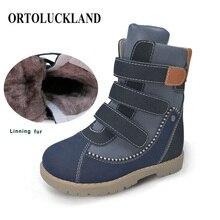 أحذية أطفال رائعة عالية الجودة أحذية لتقويم العظام تصحيحية أحذية شتوية برقبة من الفرو أحذية ثلج من الجلد من الألياف الدقيقة للأولاد والبنات