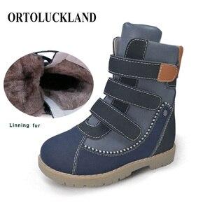 Image 1 - Детские высокие корректирующие ортопедические ботинки, зимняя обувь с меховым подкладом из микрофибры, кожаные зимние сапоги для мальчиков и девочек