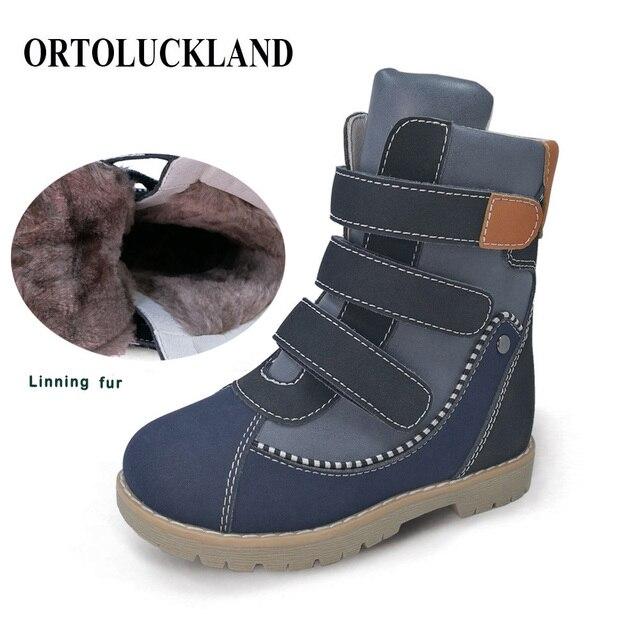 Детские высокие корректирующие ортопедические ботинки, зимняя обувь с меховым подкладом из микрофибры, кожаные зимние сапоги для мальчиков и девочек