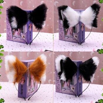 Anime śliczne futra lisa ucha opaski karnawałowe impreza z okazji Halloween wydajność pluszowe szpilki dziewczyny obręcz do włosów Handmade akcesoria do włosów