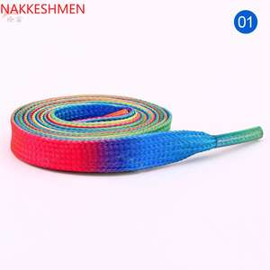 NAKKESHMEN-Colorful gradient ribbon straps rainbow printed shoelaces