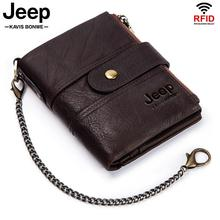 Men's Wallets Coin-Purse Money-Bag Short-Quality Rfid Crazy-Horse Quality-Designer Chain